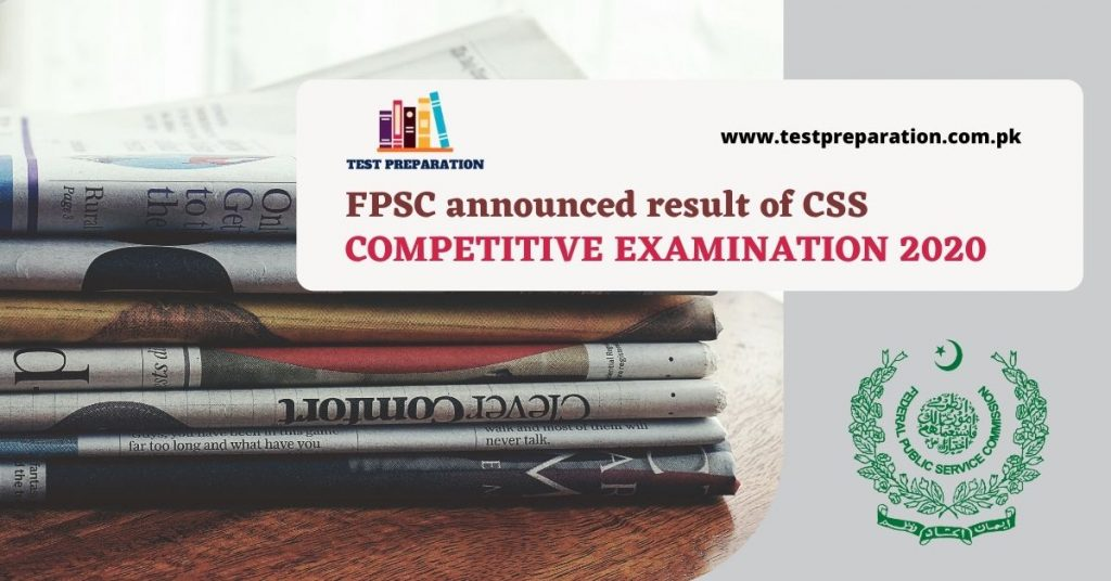 FPSC announced CSS Result 2020 - Test Preparation Online