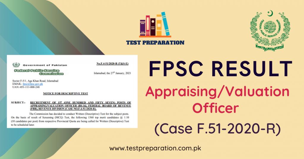 Appraising/Valuation Officer Results (CASE NO.F.4-51/2020-R) - Test Preparation Online
